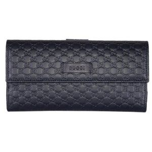 Gucci Blue Leather GG Continental Bifold Wallet
